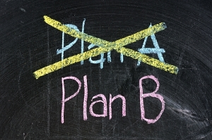 plan b strategy option alternative planning business symbol black board isolated